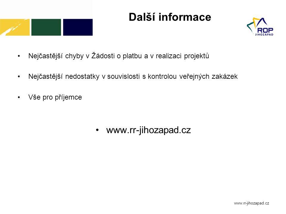 Další informace www.rr-jihozapad.cz