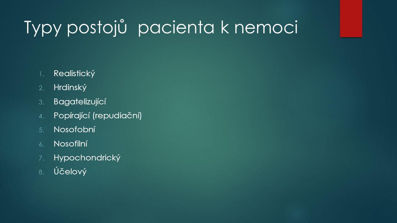 Typy postojů pacienta k nemoci