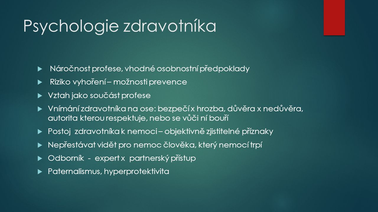 Psychologie zdravotníka