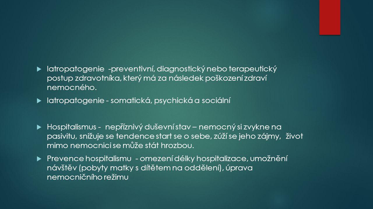 Iatropatogenie -preventivní, diagnostický nebo terapeutický postup zdravotníka, který má za následek poškození zdraví nemocného.