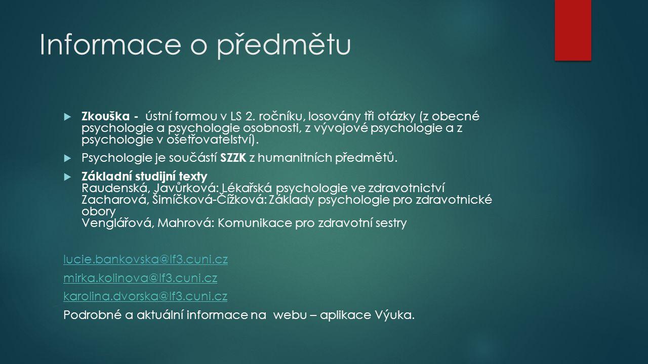 Informace o předmětu
