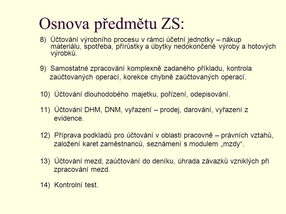 Osnova předmětu ZS: