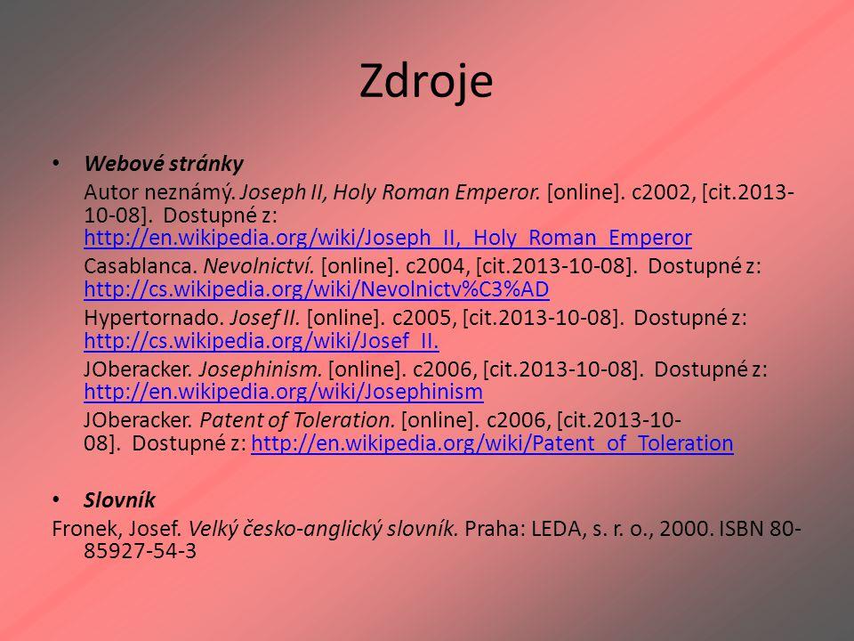 Zdroje Webové stránky.