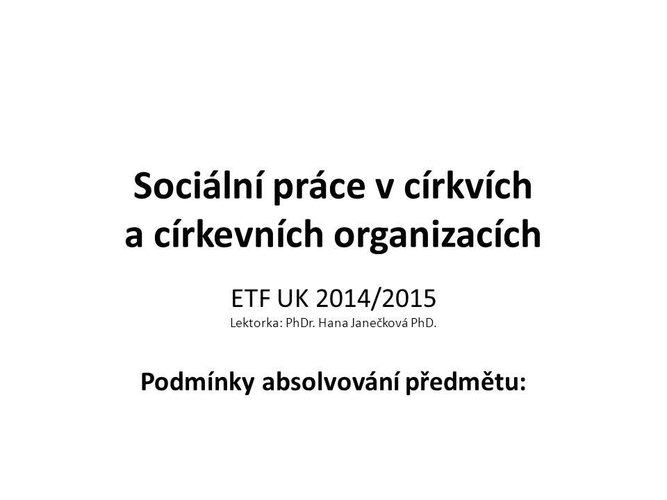 Sociální práce v církvích a církevních organizacích