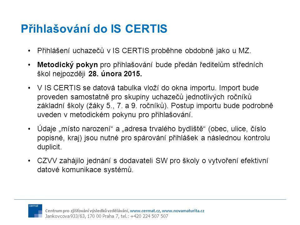 Přihlašování do IS CERTIS