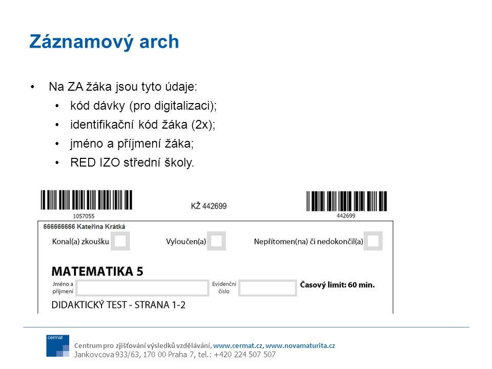 Záznamový arch Na ZA žáka jsou tyto údaje: