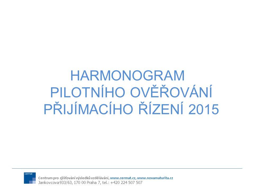 HARMONOGRAM PILOTNÍHO OVĚŘOVÁNÍ PŘIJÍMACÍHO ŘÍZENÍ 2015