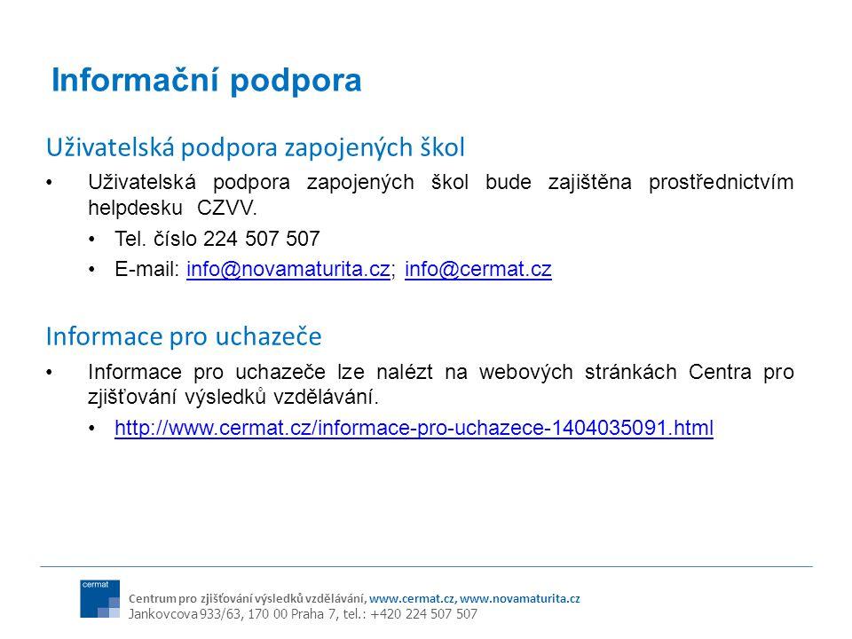 Informační podpora Uživatelská podpora zapojených škol
