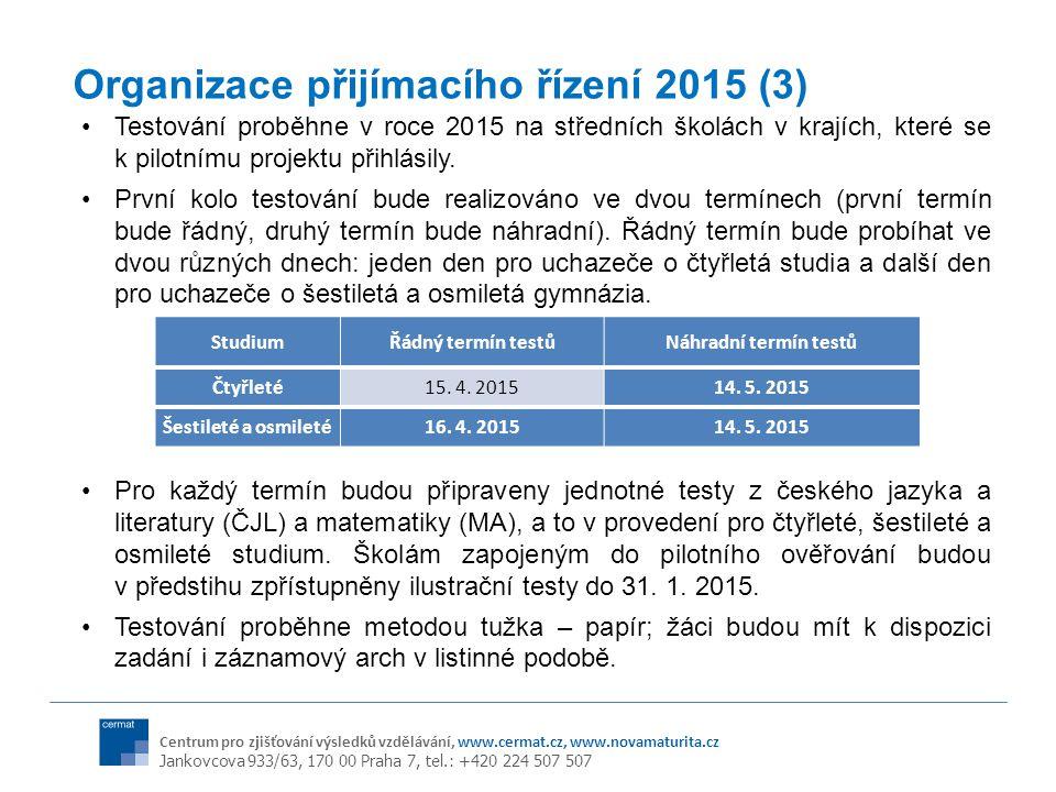 Organizace přijímacího řízení 2015 (3)