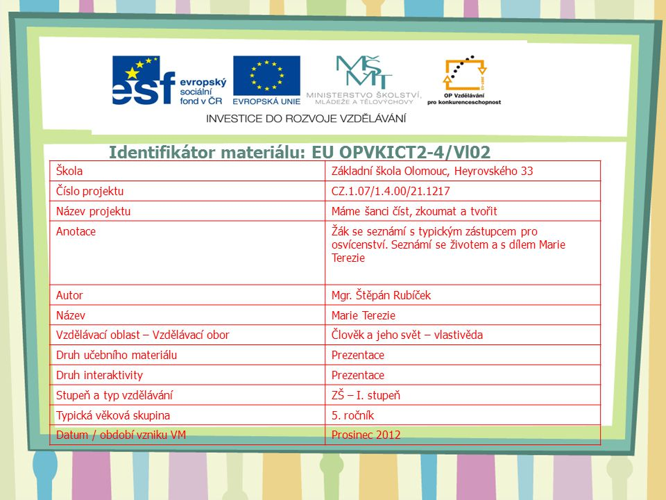 Identifikátor materiálu: EU OPVKICT2-4/Vl02