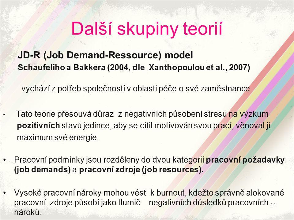 Další skupiny teorií JD-R (Job Demand-Ressource) model