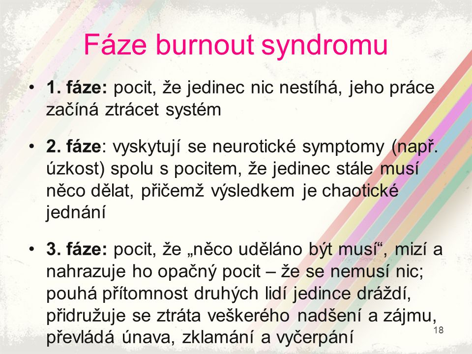 Fáze burnout syndromu 1. fáze: pocit, že jedinec nic nestíhá, jeho práce začíná ztrácet systém.