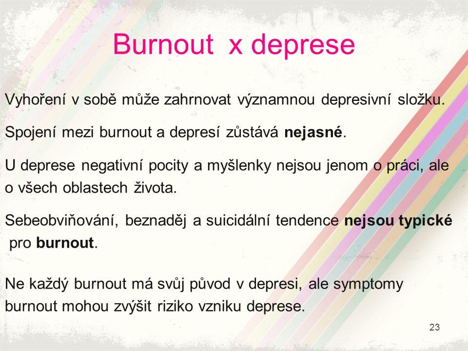 Burnout x deprese Vyhoření v sobě může zahrnovat významnou depresivní složku. Spojení mezi burnout a depresí zůstává nejasné.