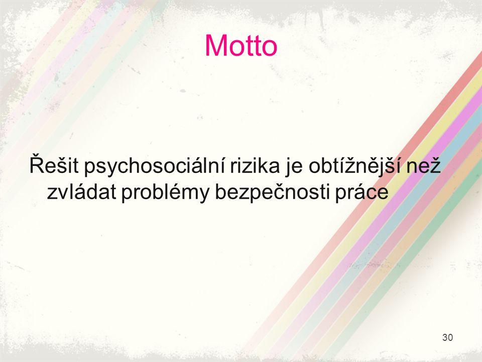 Motto Řešit psychosociální rizika je obtížnější než zvládat problémy bezpečnosti práce