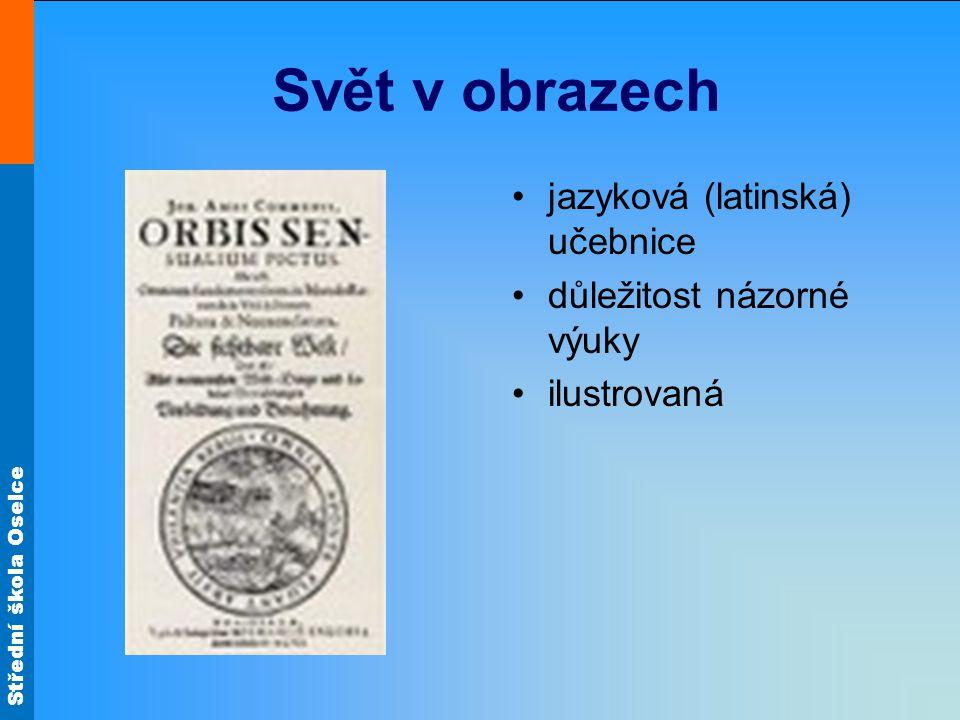 Svět v obrazech jazyková (latinská) učebnice důležitost názorné výuky
