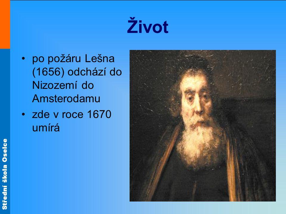 Život po požáru Lešna (1656) odchází do Nizozemí do Amsterodamu