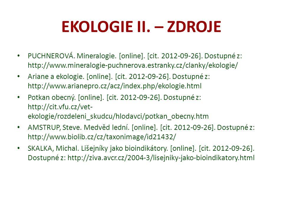 EKOLOGIE II. – ZDROJE
