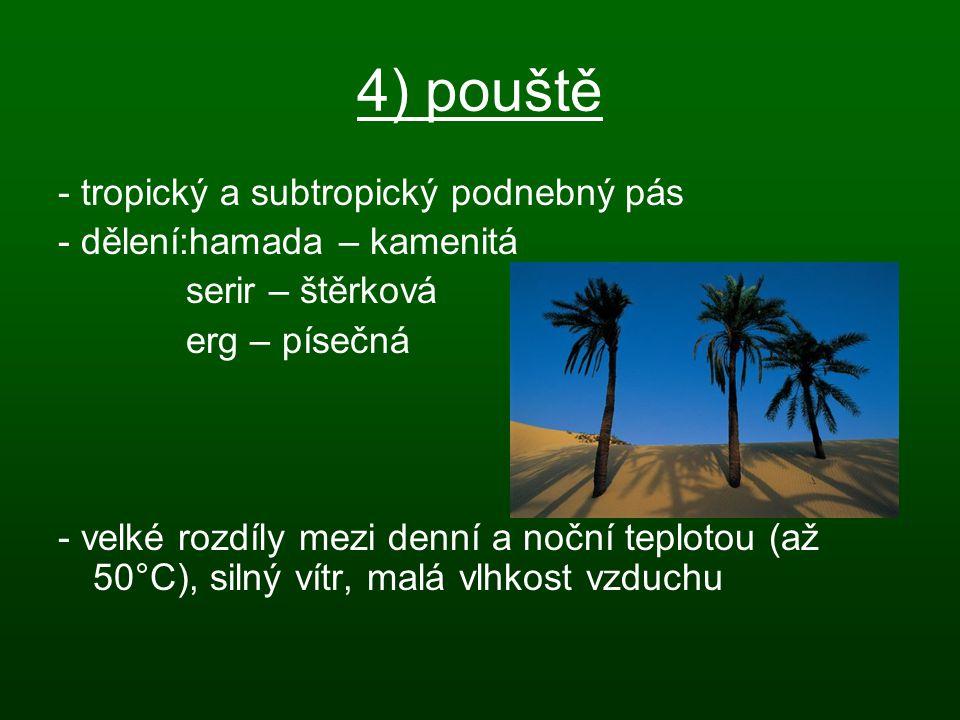4) pouště - tropický a subtropický podnebný pás