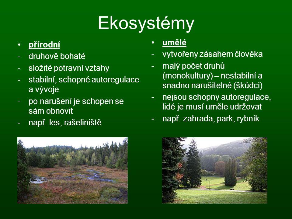 Ekosystémy umělé přírodní - vytvořeny zásahem člověka druhově bohaté