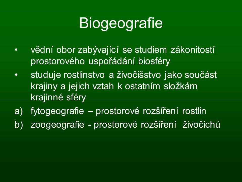 Biogeografie vědní obor zabývající se studiem zákonitostí prostorového uspořádání biosféry.