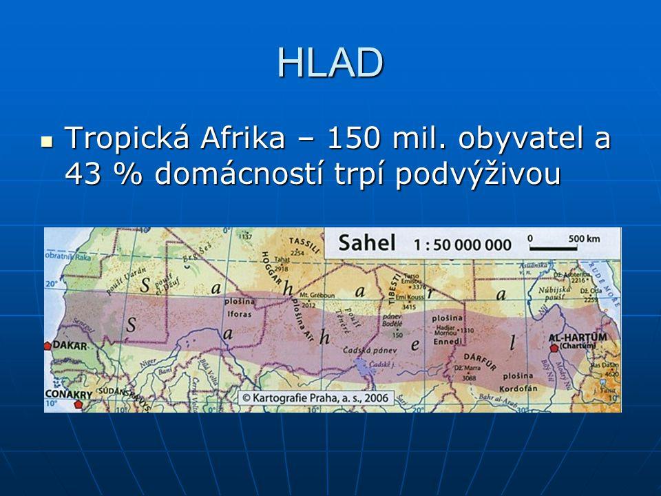 HLAD Tropická Afrika – 150 mil. obyvatel a 43 % domácností trpí podvýživou