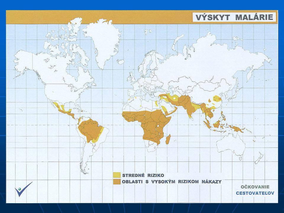 NEMOCI Malárie – parazitární onemocnění (prvok rodu Plasmodium), přenáší komár rodu Anopheles. - mnoho forem, nejnebezpečnější trop. malárie.