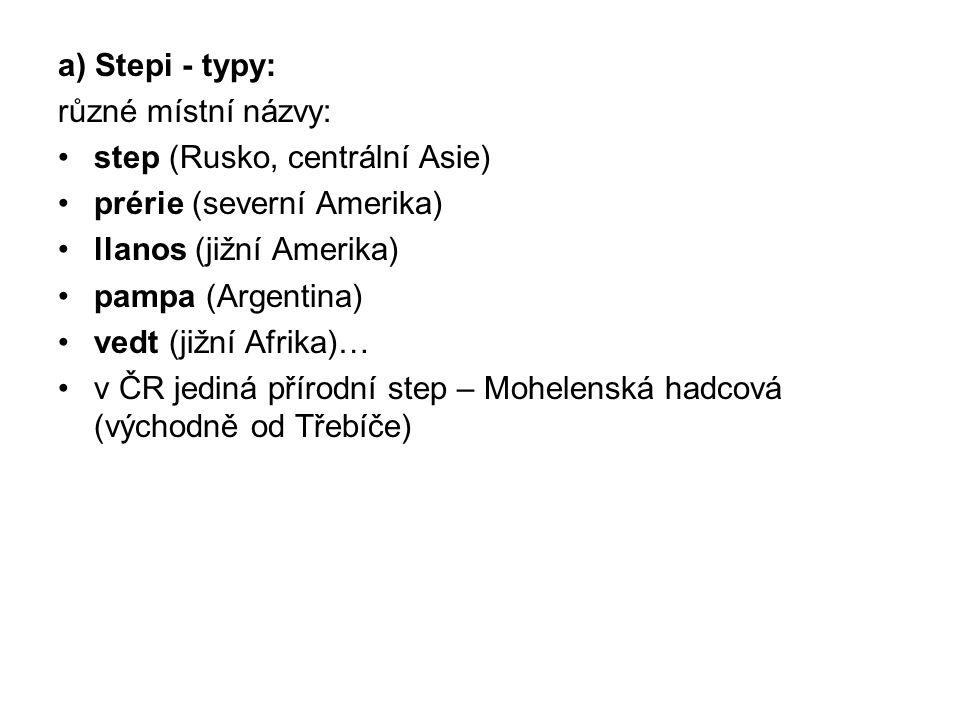 a) Stepi - typy: různé místní názvy: step (Rusko, centrální Asie) prérie (severní Amerika) llanos (jižní Amerika)