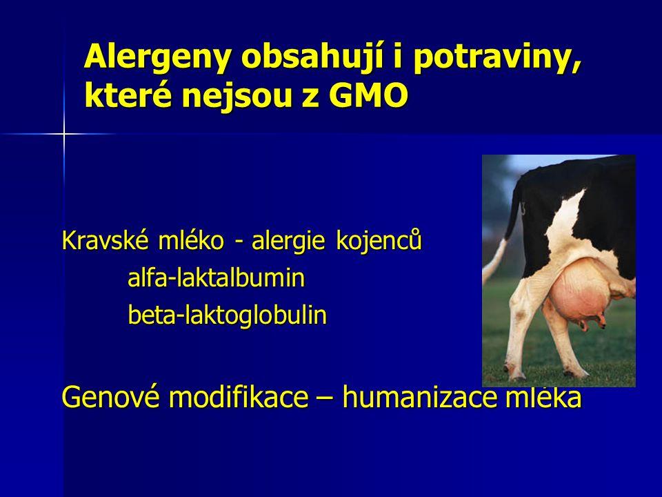 Alergeny obsahují i potraviny, které nejsou z GMO