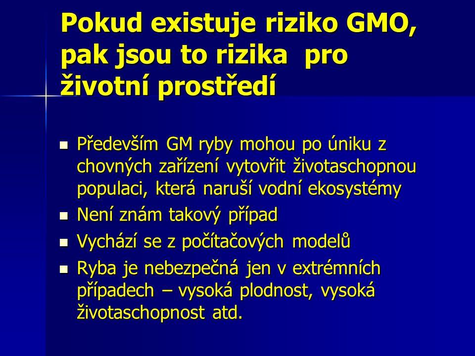 Pokud existuje riziko GMO, pak jsou to rizika pro životní prostředí