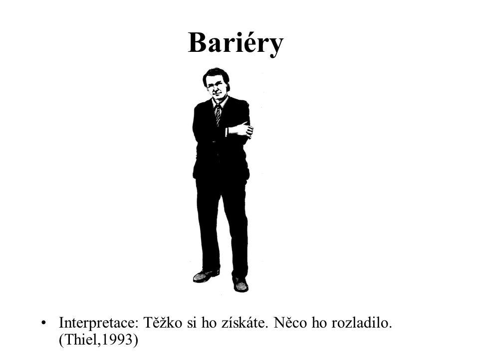 Bariéry Interpretace: Těžko si ho získáte. Něco ho rozladilo. (Thiel,1993)