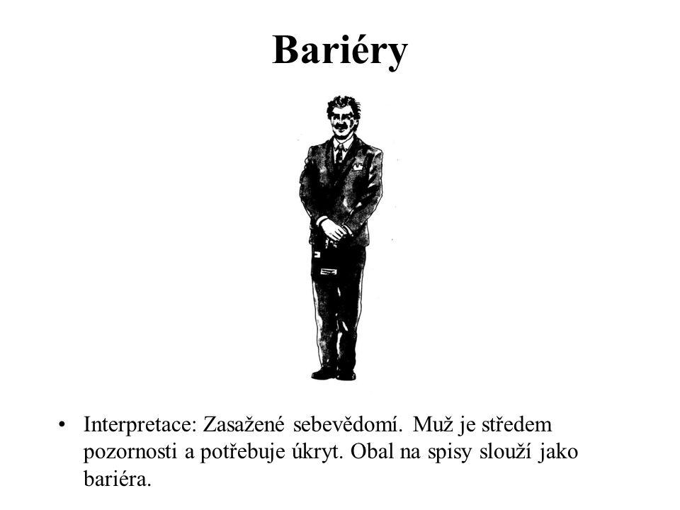 Bariéry Interpretace: Zasažené sebevědomí. Muž je středem pozornosti a potřebuje úkryt.