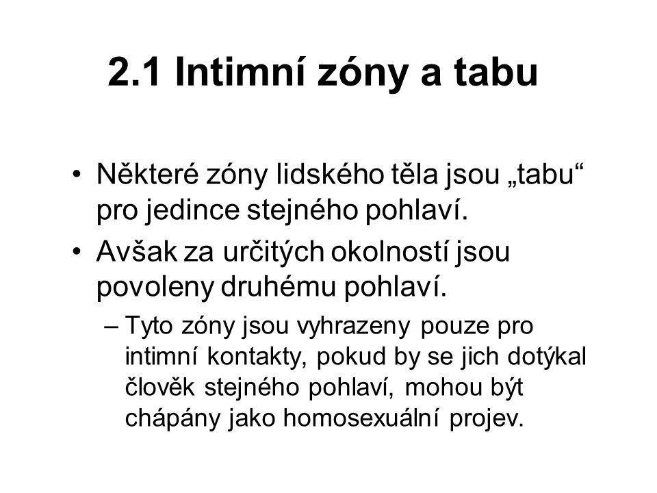 """2.1 Intimní zóny a tabu Některé zóny lidského těla jsou """"tabu pro jedince stejného pohlaví."""