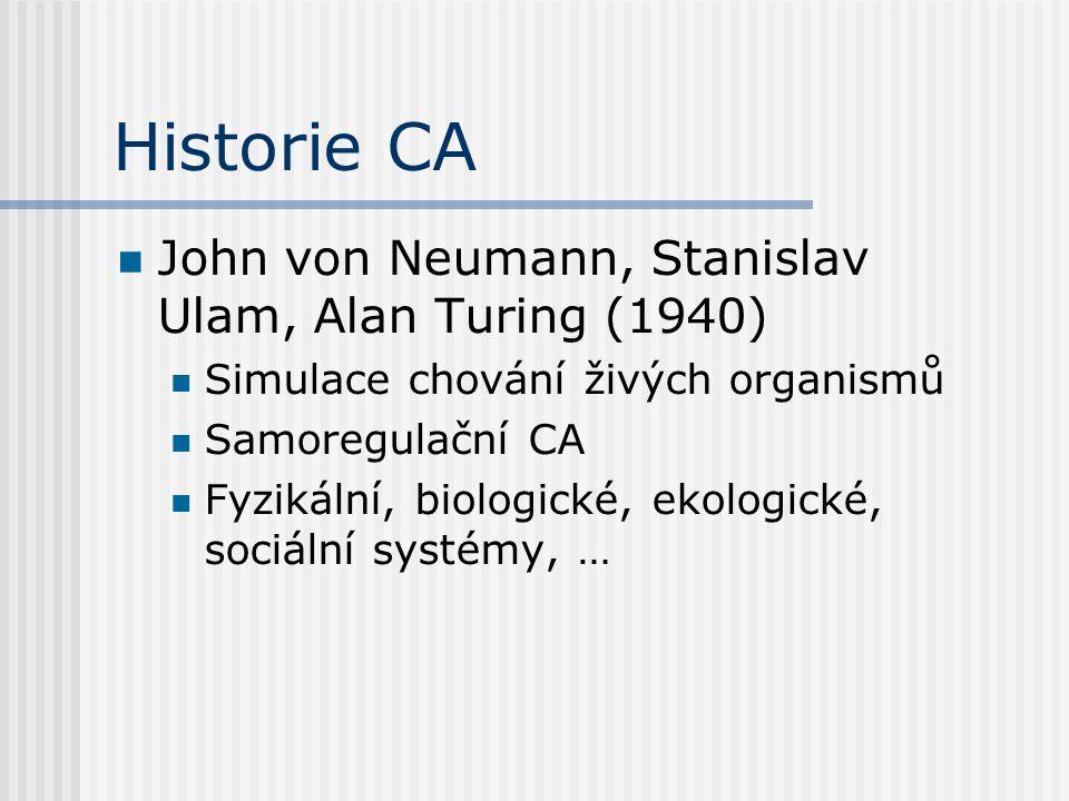 Historie CA John von Neumann, Stanislav Ulam, Alan Turing (1940)