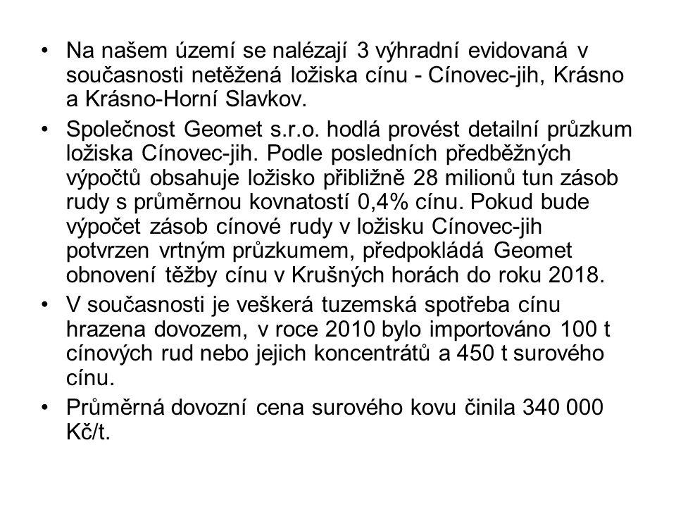 Na našem území se nalézají 3 výhradní evidovaná v současnosti netěžená ložiska cínu - Cínovec-jih, Krásno a Krásno-Horní Slavkov.