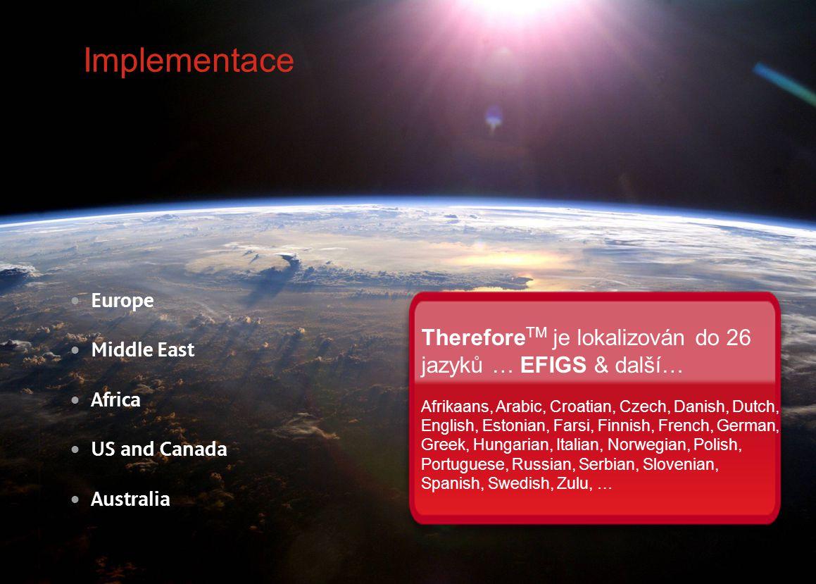 Implementace ThereforeTM je lokalizován do 26 jazyků … EFIGS & další…