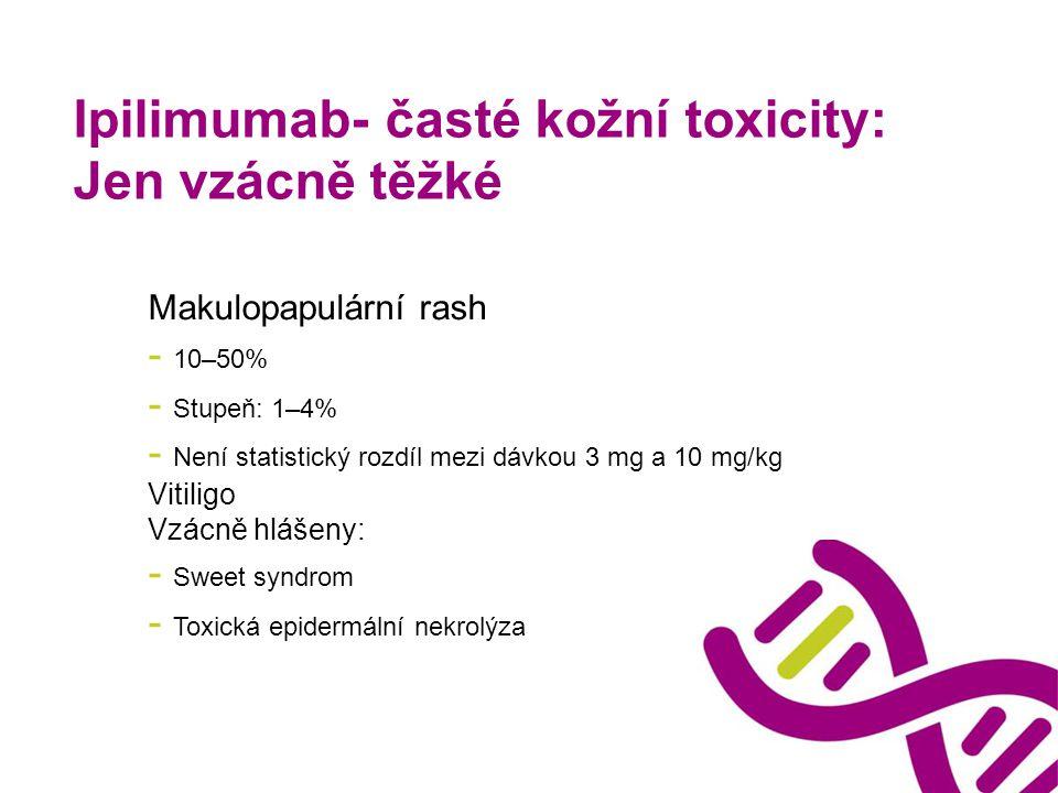 Ipilimumab- časté kožní toxicity: Jen vzácně těžké