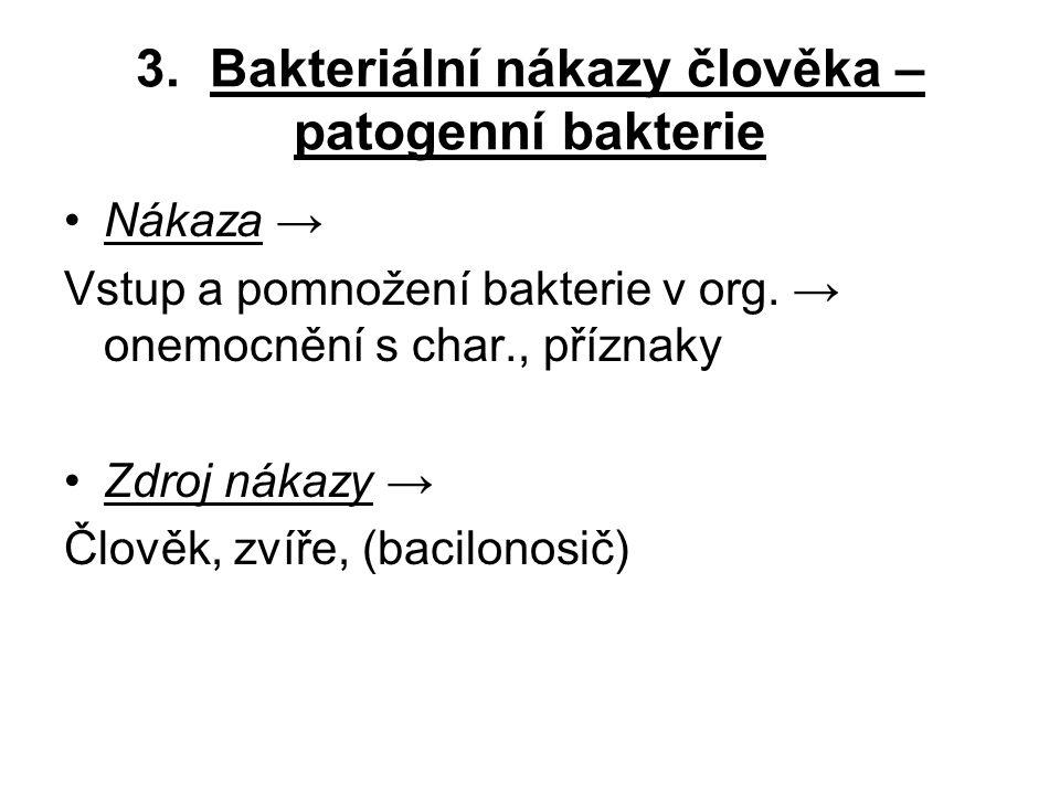 3. Bakteriální nákazy člověka – patogenní bakterie
