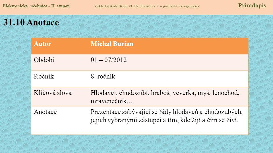 31.10 Anotace Autor Michal Burian Období 01 – 07/2012 Ročník 8. ročník
