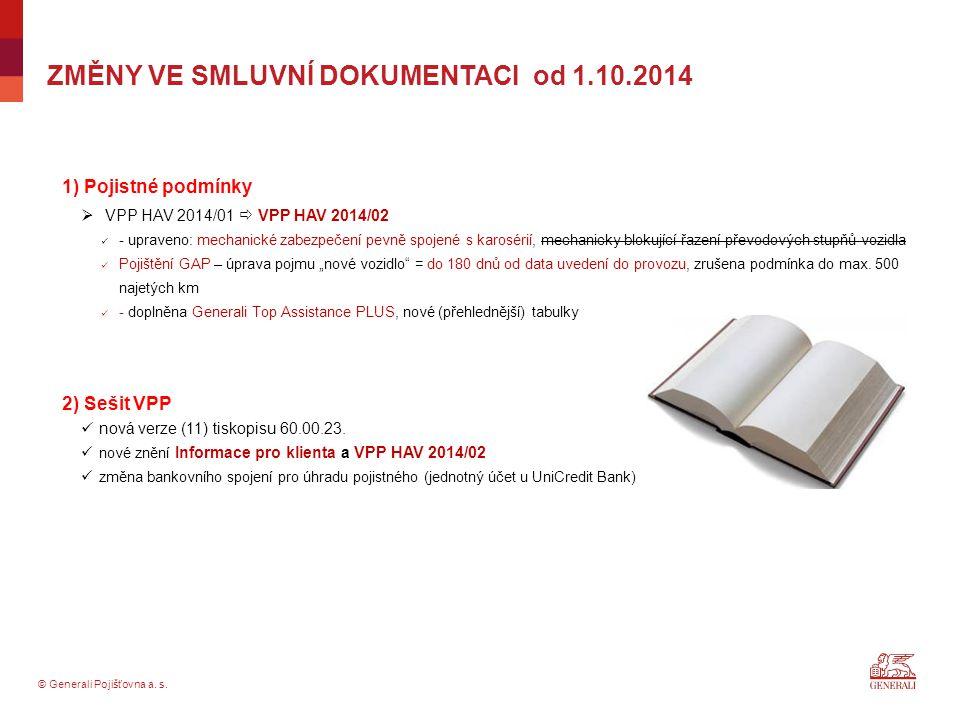 ZMĚNY VE SMLUVNÍ DOKUMENTACI od 1.10.2014