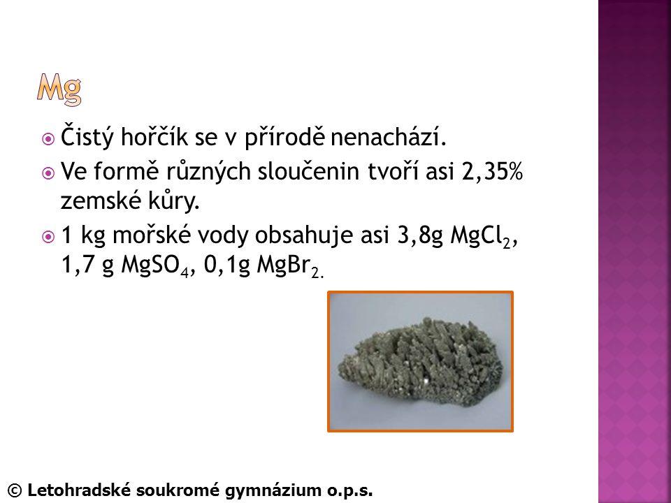 Mg Čistý hořčík se v přírodě nenachází.