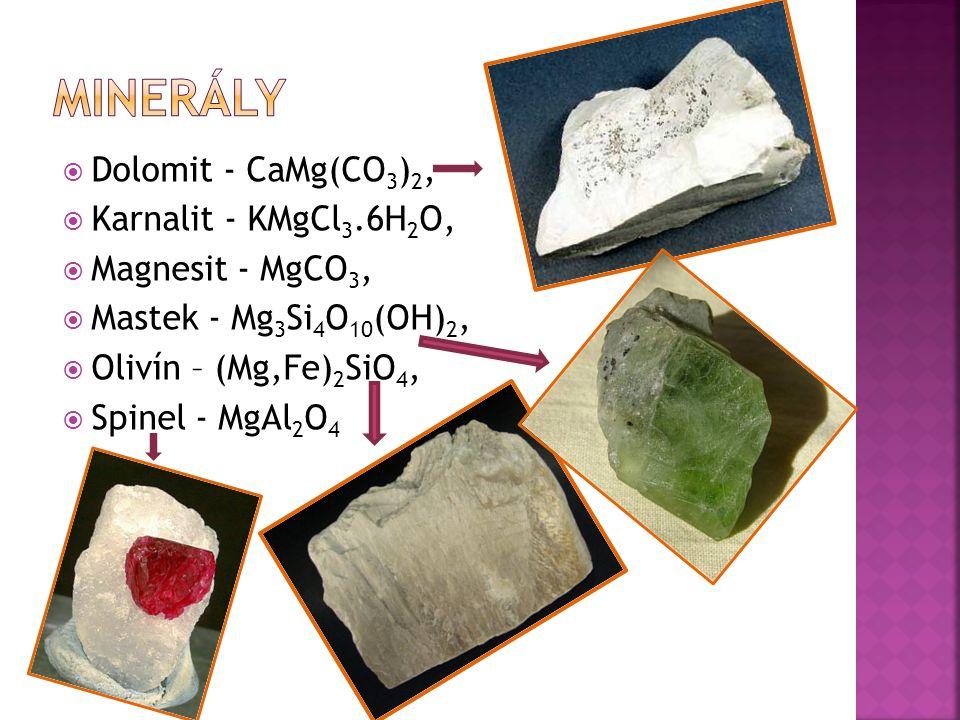 minerály Dolomit - CaMg(CO3)2, Karnalit - KMgCl3.6H2O,