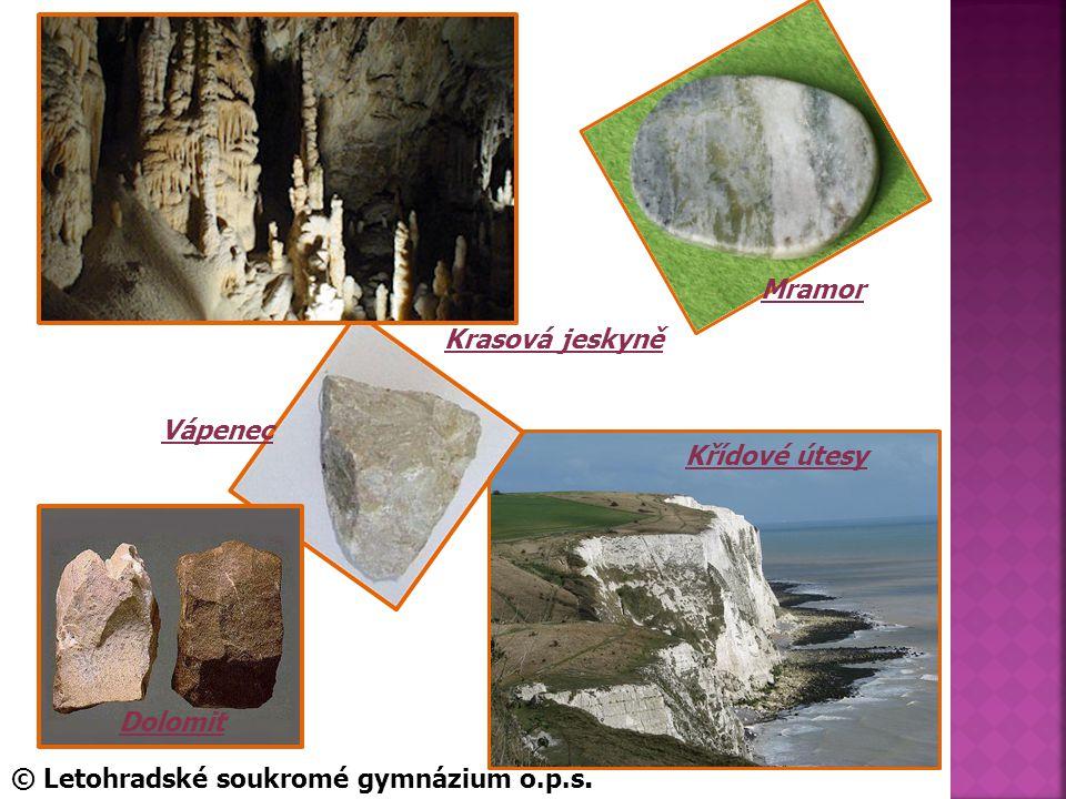 Mramor Krasová jeskyně Vápenec Křídové útesy Dolomit © Letohradské soukromé gymnázium o.p.s.