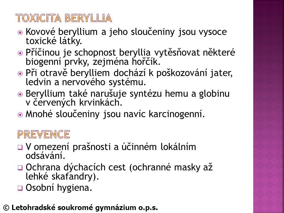 Toxicita beryllia Prevence