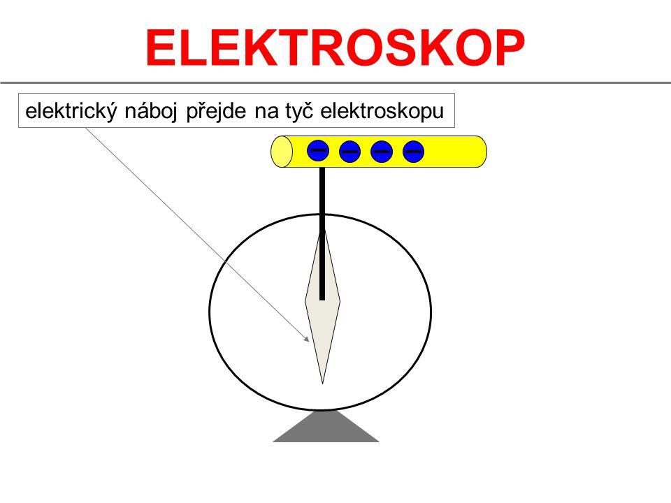 ELEKTROSKOP elektrický náboj přejde na tyč elektroskopu 6
