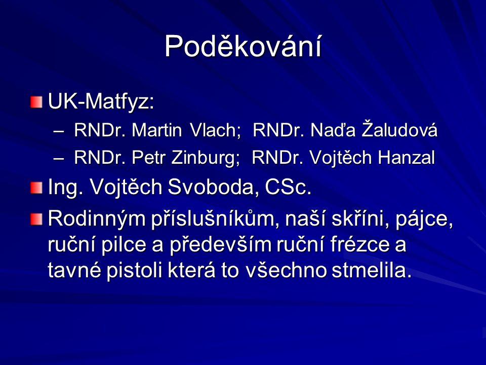 Poděkování UK-Matfyz: Ing. Vojtěch Svoboda, CSc.