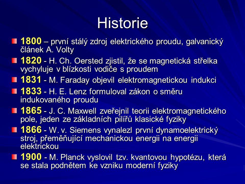 Historie 1800 – první stálý zdroj elektrického proudu, galvanický článek A. Volty.