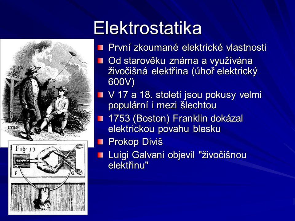 Elektrostatika První zkoumané elektrické vlastnosti