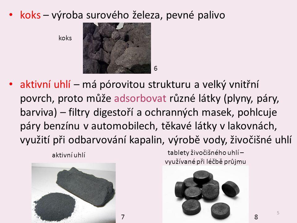 tablety živočišného uhlí – využívané při léčbě průjmu