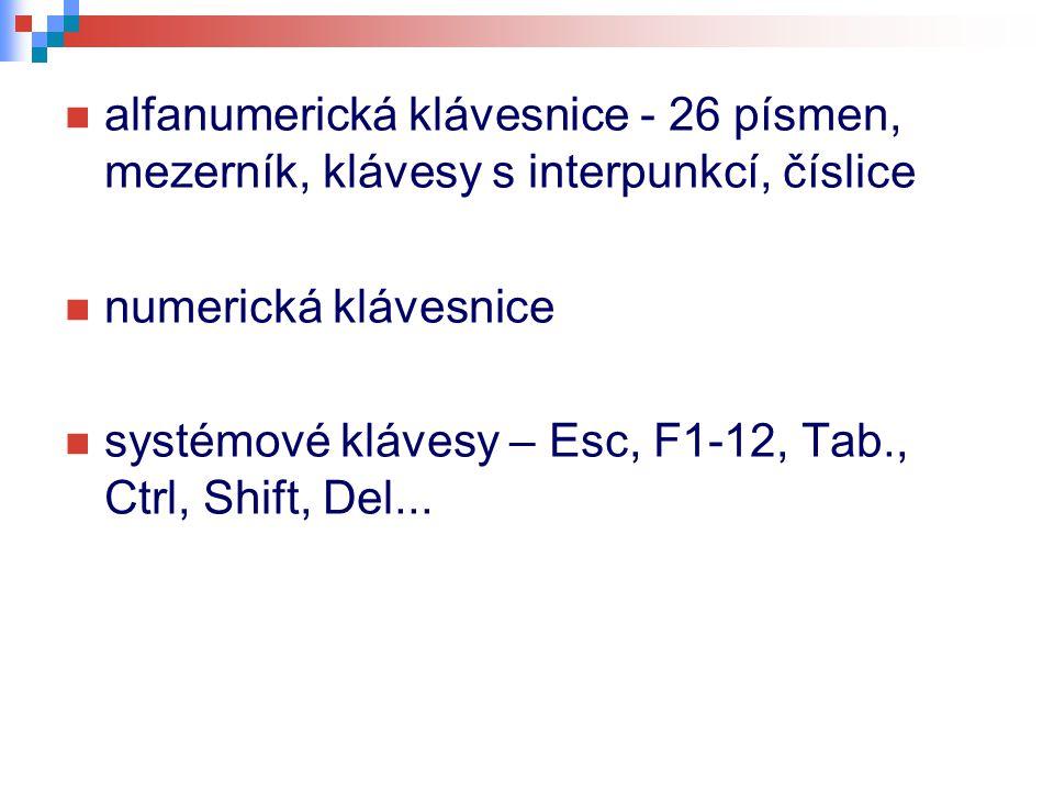 alfanumerická klávesnice - 26 písmen, mezerník, klávesy s interpunkcí, číslice