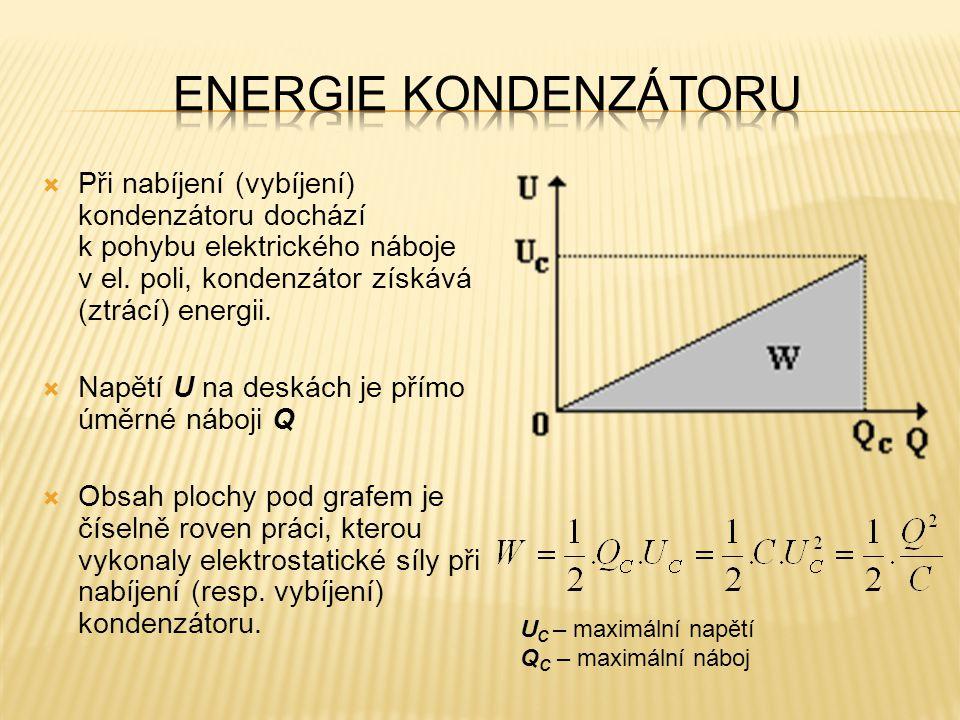 Energie kondenzátoru Při nabíjení (vybíjení) kondenzátoru dochází k pohybu elektrického náboje v el. poli, kondenzátor získává (ztrácí) energii.